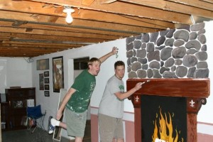 Painting a set in Jeremy's basement for a Murder Mystery Dinner Production, 2004